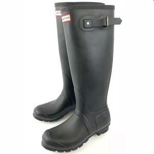 ☮️ Hunter tall rain boots black matte size 8